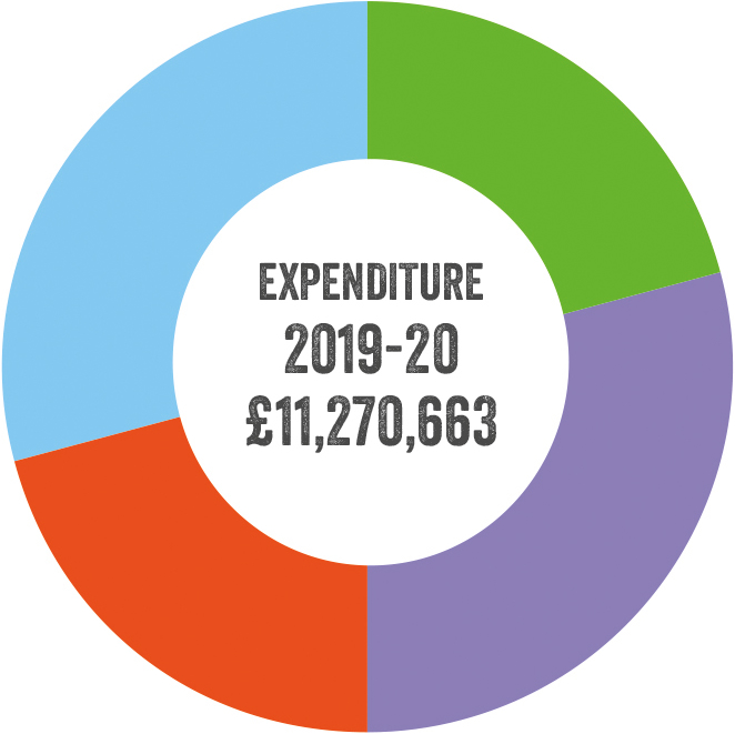 Pie chart illustrating expenditure for 2019-2020