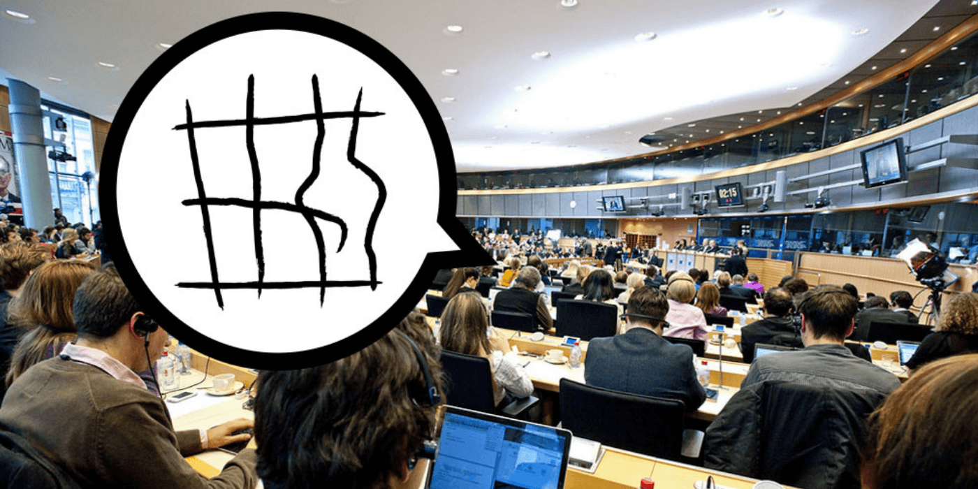politicians meeting with speech bubble showing broken cage